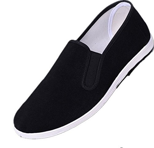 Unisex Martial Art Kung Fu Chinese Traditional Cloth Tai Chi Old Beijing Shoes Black]()