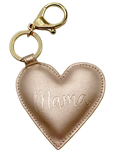 """(Itzy Ritzy Diaper Bag and Purse Charm, Keychain and Luggage Marker; Measures 6"""" Long and 3"""" Wide; Features Durable Clasp and Trendy Gold Hardware, Mama)"""