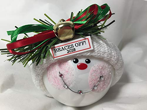 Christmas Ornament Snowball (Braces Christmas Ornament Hand Painted Hand Made Personalized and Themed by Townsend Custom Gifts)