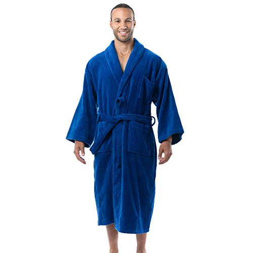 ens Cotton Terry Cloth Bathrobe Shawl Collar Velour Spa Robe BLU XLXXL ()
