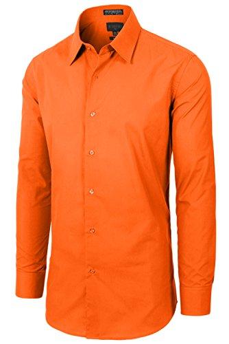 JC DISTRO Mens Slim Fit Solid Double-Button Cuffs M 15-15.5N-32/33S Orange Dress (Double Cuff Shirt)