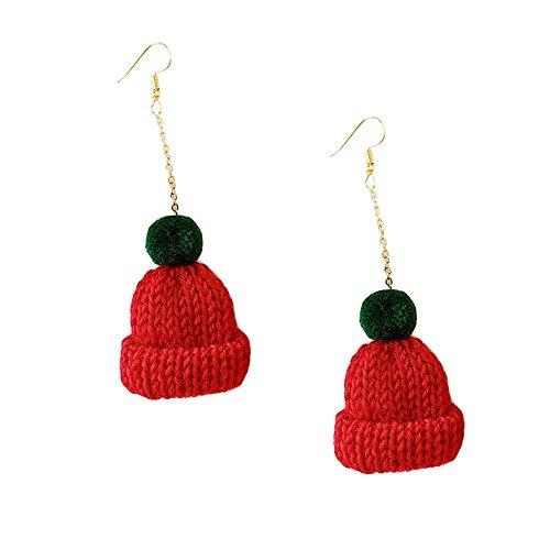 Challyhope Women Fashion Cute Hat Dangle Earrings Wool Fur Ball Ear Hook Eardrop Earring Gift For Teen Girls (Red - Long, Alloy)
