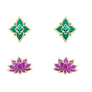Disney Aladdin Yellow Gold Plated Crystal Arabian Flowers Stud Earrings Set