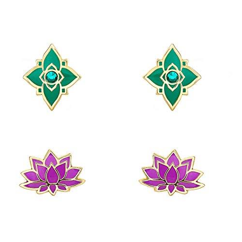 Disney Aladdin Yellow Gold Plated Crystal Arabian Flowers Stud Earrings Set