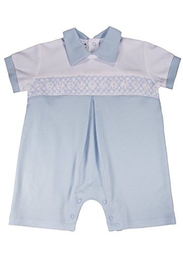 Dakomoda Baby Boy's Organic Pima Cotton Smocked Romper Easter Christening 6-9 Month