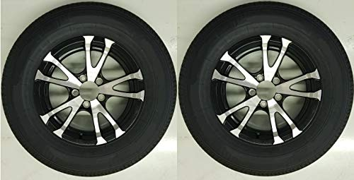 2-Pack Trailer Tire On Rim ST205/75D14 Load C 5 Lug Aluminum Avalanche V-Black
