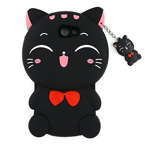UFOTSAM Galaxy J7 V Case, Galaxy J7 Prime Case, Galaxy J7 Perx Case, Galaxy J7 Sky Pro/Halo Case,3D Cute Cartoon Lucky Fortune Cat Kitty Soft Silicone Rubber Cover for Samsung Galaxy J7 2017 (Black)