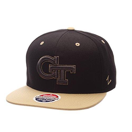 Ncaa Black Cap (Zephyr NCAA Georgia Tech Adult Men's Z11 Phantom Snapback Hat, Adjustable Size, Black/Team Color)