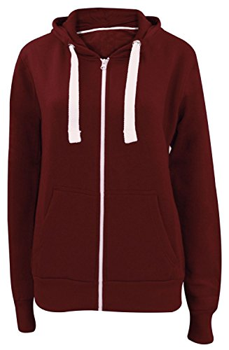 Ladies Color Multicolore 50 Du Au Capuche 36 Womens Tailles eu Plain Disponibles Zippé À shirt Sweat Bordeaux Pull Grandes Aq4wATrE