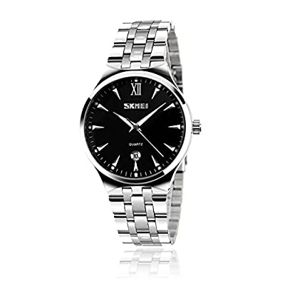 Mens Watch, Unique Quartz Analog Dress Business Casual Watches Stainless Steel Band Wrist Roman Numeral Waterproof Watch, Classic Calendar Date Window