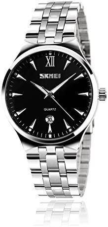 Men's stainless steel analog watch, men's luxury wrist dress waterproof watches, quartz classic work business casual watch with Roman numeral