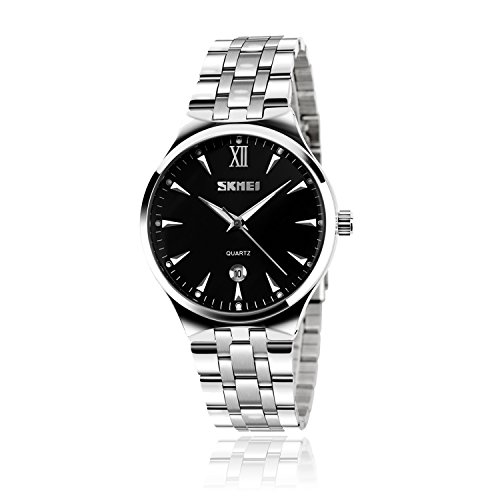 (Mens Watch, Unique Quartz Analog Dress Business Casual Watches Stainless Steel Band Wrist Roman Numeral Waterproof Watch, Classic Calendar Date Window - Black)
