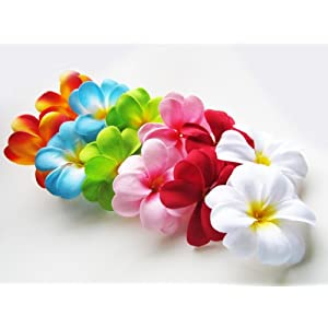 "(24) Assorted Hawaiian Plumeria Frangipani Silk Flower Heads - 3"" - Artificial Flowers Head Fabric Floral Supplies Wholesale Lot for Wedding Flowers Accessories Make Bridal Hair Clips Headbands Dress 34"