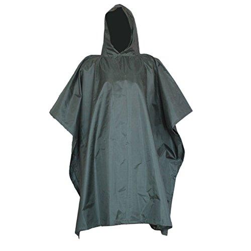 Nylon Rainwear Poncho - Aircee TM Camouflage Military Emergency Raincoat Waterproof Poncho Packable Rainwear, Can be Used As a Shelter Tent (Army Green)