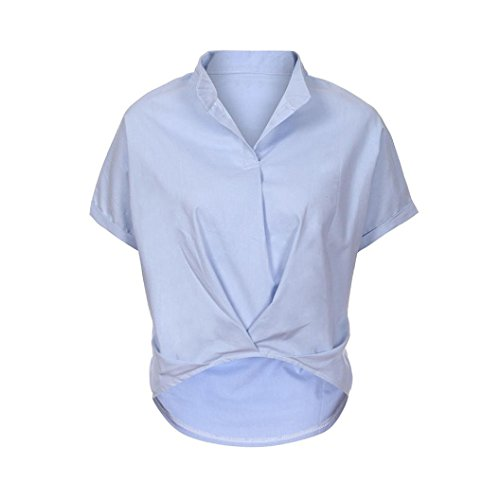 Casual Blouse,Toimoth Women Plus Size Solid Ruffled Loose V-Neck Short Sleeve Top(Light Blue,M)