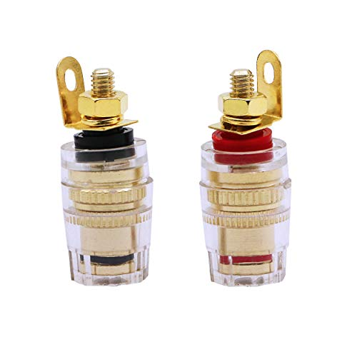 CERRXIAN Gold Plated Pure Copper Amplifier Speaker Terminal Connector Binding Post Banana Jack Socket Sound Audio Connector Adapter ()
