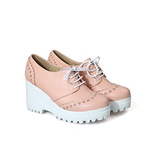 Allhqfashion Womens Pu Solid Lace-up Tacco A Spillo Tacchi Alti Pompe-scarpe Rosa