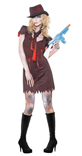 Fever Women's Zombie Gangster Costume with Pinstripe Dress Hat and Scarf, Brown, (Zombie Gangster Halloween Costumes)