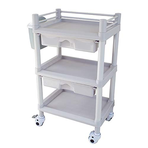 - Medical Cart Tool 3 Tier ABS Beauty Salon SPA Trolley with Storage Drawers & Dirt Bucket, Mobile Medical Utility Cart, 90kg Capacity, 54×37×92cm