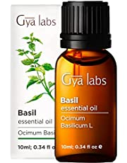 Gya Labs Basil Essential Oil - Mind Concentrator For Better Focus and Sore Free Body 10ml – 100 Pure Natural Therapeutic Grade Basil Oil Essential Oils for Aromatherapy Diffuser and Topical Use