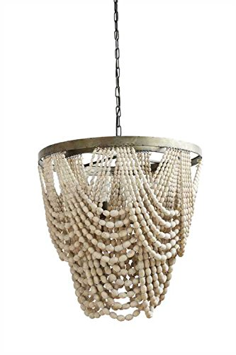 Bead Chandelier - Metal Chandelier with Draped Wood Beads