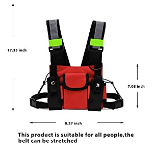 Armiya Universal Radio Chest Harness Bag Tactical Chest Front Pack Pouch Holster Vest for Two Way Radio Walkie Talkie(Rescue Essentials) (red) (Color: red, Tamaño: Small)