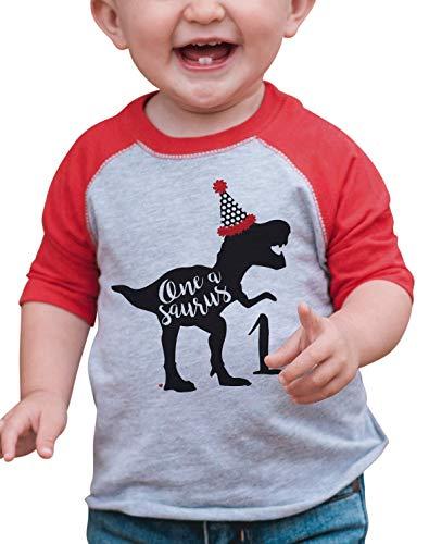 (7 ate 9 Apparel Dino One Birthday Dinosaur Red Baseball Tee)
