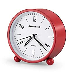 Alarm Clock.Mensent 4 inch Round Silent Analog Alarm Clock Non Ticking,with Night Light, Battery Powered Super Silent Alarm Clock, Simple Design Beside/Desk Alarm Clock (Red)