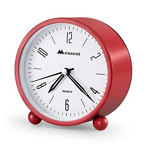 (Alarm Clock.Mensent 4 inch Round Silent Analog Alarm Clock Non Ticking,with Night Light, Battery Powered Super Silent Alarm Clock, Simple Design Beside/Desk Alarm Clock (Red))
