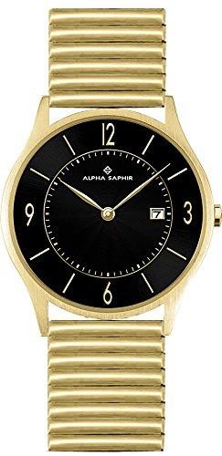 Alpha Saphir Reloj Analógico para Hombre de Cuarzo con Correa en Acero Inoxidable 335E-1: Amazon.es: Relojes