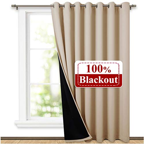- NICETOWN Thermal Insulated 100% Blackout Curtains, Noise Reducing Performance Grommet Slider Curtain Panel with Black Lining, Full Light Blocking Patio Door Drapery (1 Pcs, 100