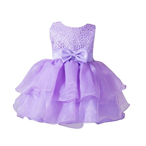 Zhengpin Newborn Girl Dress Birthday Party Chiffon Clothing Tutu Tulle Girl Dress (M(6-12months), Purple)