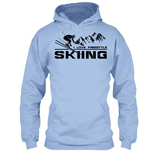ove Freestyle Skiing Cool T Shirts Design Hoodie (XL,Light Blue) ()