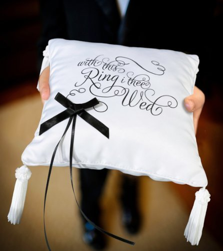RaeBella Weddings White & Black Ring Bearer Pillow With This Ring I Thee Wed KEEPSAKE by RaeBella Weddings & Events New York by RaeBella Weddings & Events New York