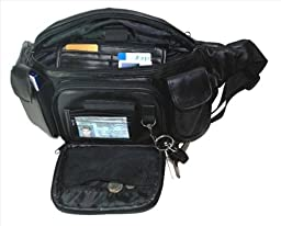 Leather in Chicago Extra Large Mens Womens Black Leather Fanny Pack