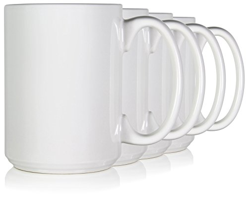 (Serami 15oz Classic White Coffee Mugs. Large Handle and Ceramic Construction, Set of 4)