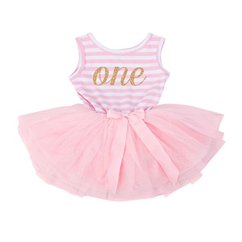 (Grace & Lucille Pink Striped Sleeveless Baby Birthday Dress (Gold, 1st Birthday (12-24)
