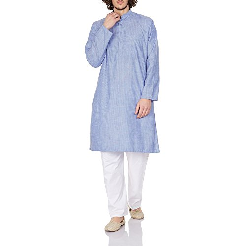[Men Costume Indian Kurta Pajama Set Relaxed Fit Birthday Gifts 42 Inches] (Ethnic Costume For Men)