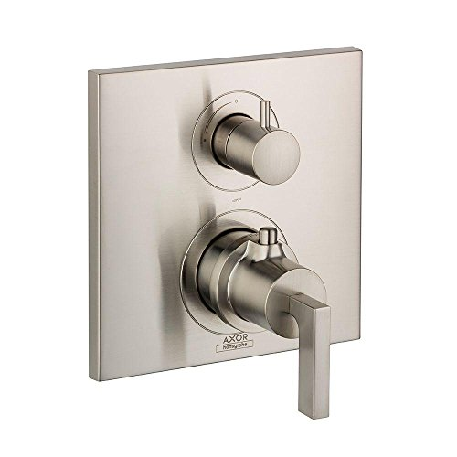 AXOR 39700821  Citterio Thermostatic Trim with Volume Control, Lever Handle, Brushed Nickel AXOR