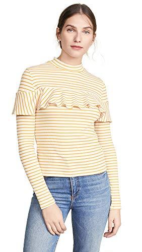 Marigold Stripe - Jack by BB Dakota Womens Worth The Stripe Rib Knit Long Sleeve w/Ruffle Detail, marigold medium