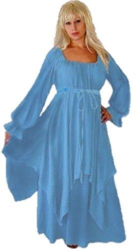 Lotustraders Peasant Renaissance Dress Layered Stunning Ladies Fashion Light Blue Small (Light Blue Renaissance Dress)