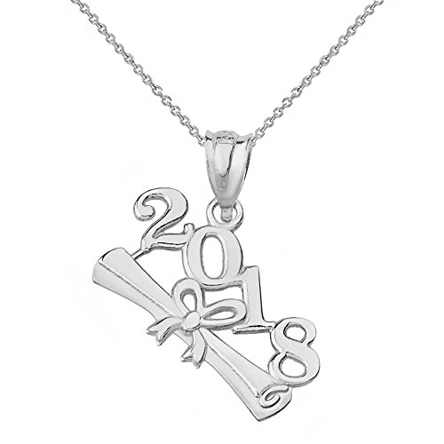 925 Sterling Silver 2018 Graduation Diploma Pendant Necklace, 16