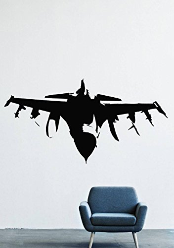 F-16 Wall Decals - Vinyl F-16 Aircraft Stickers for Men Kids - Aircraft  Stickers for Car Truck Windshield Door Window - Removable Living Room Home