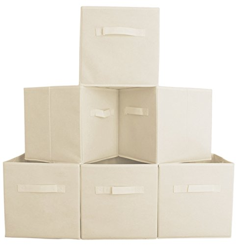 Premium Quality Fabric Cube Storage Bins, Set of 6 - Beige Foldable Baskets with Dual Handles]()