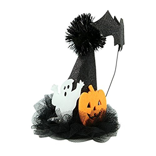 Ghost, Pumpkin and Bat Black Halloween Hair Clip Mini Witch Hat for Girls and Women, 5 Inches -