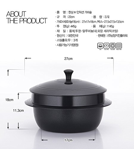 Hansang IH Induction Ceramic Cauldron Korean Traditional Pot All Heat Sources Cookable (22CM 3.7L)