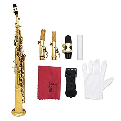 Amazon com: LADE Saxophone Bb Soprano Sax Paint Gold With Case