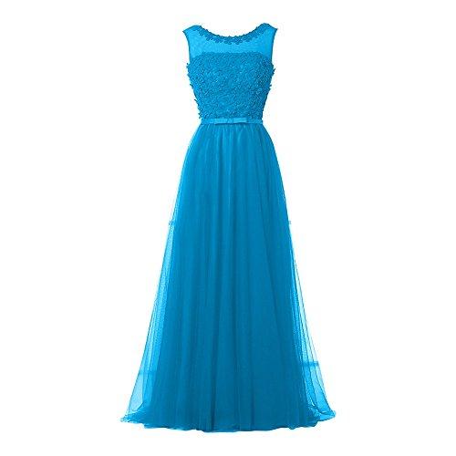 Brautjungfernkleider Blau Charmant Silber Abendkleider Langes Damen Festklich A Ballkleider Rock Linie xaxwOqY1PF