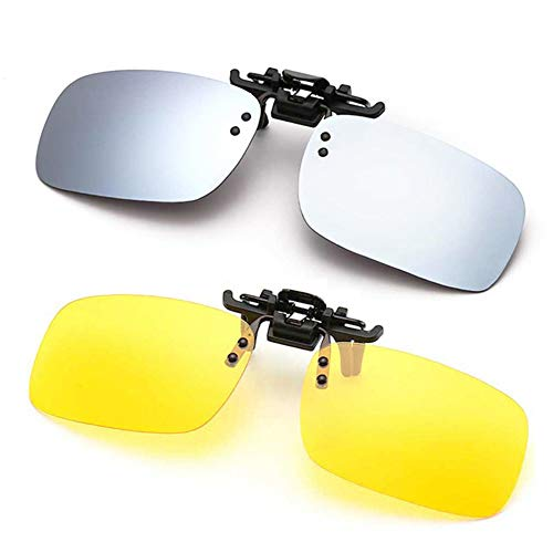 (Polarized Clip-on Sunglasses Anti-Glare Driving Glasses for Prescription Glasses (Silver + Night Vision Lens))