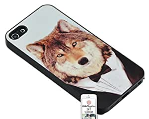 Case for Apple iphone 4s Fox Wol Wolves Dog Suit And Tie Suit Tie Gentleman Duraterm Technology